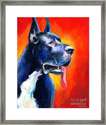 Great Dane Dog Portrait Framed Print by Svetlana Novikova