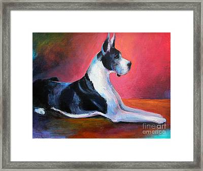 Great Dane Painting Svetlana Novikova Framed Print by Svetlana Novikova