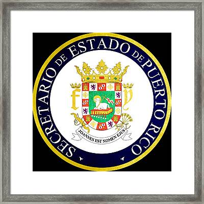 Great Seal Of Puerto Rico Framed Print by Mountain Dreams