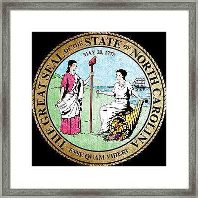 Great Seal Of The State Of North Carolina Framed Print by Mountain Dreams