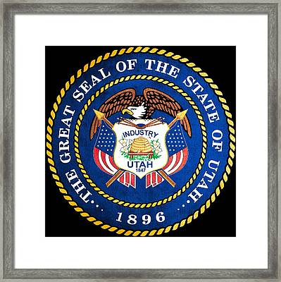 Great Seal Of The State Of Utah Framed Print by Mountain Dreams