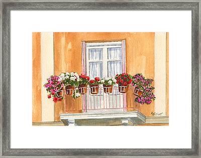 Grecian Balcony Framed Print by Marsha Elliott