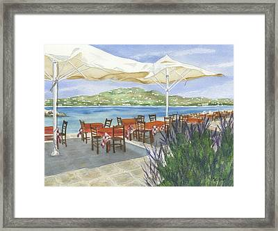Grecian Seaside Cafe Framed Print by Marsha Elliott