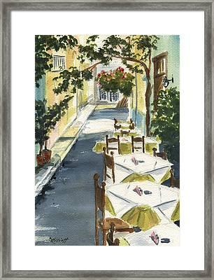 Grecian Taverna Framed Print by Marsha Elliott