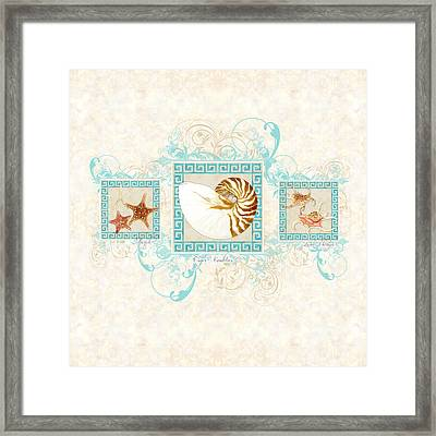 Greek Key Nautilus Starfish N Conch Shells Framed Print by Audrey Jeanne Roberts