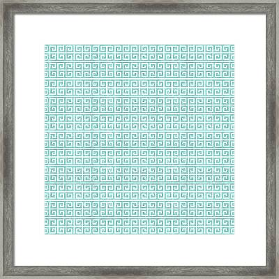 Greek Key Watercolor Pattern Beach Ocean Home Decor Framed Print by Audrey Jeanne Roberts