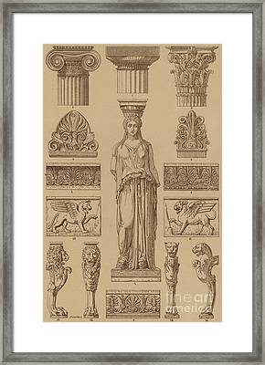 Greek, Ornamental Architecture And Sculpture Framed Print by German School
