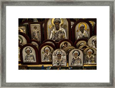 Greek Orthodox Church Icons Framed Print by David Smith