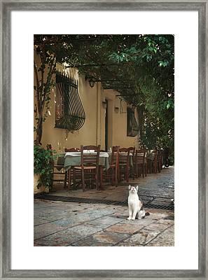 Greek Streets - Corfu Framed Print by Cambion Art