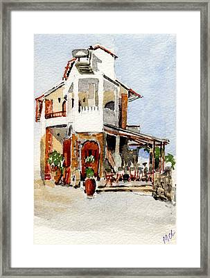 Greek Taverna. Framed Print by Mike Lester