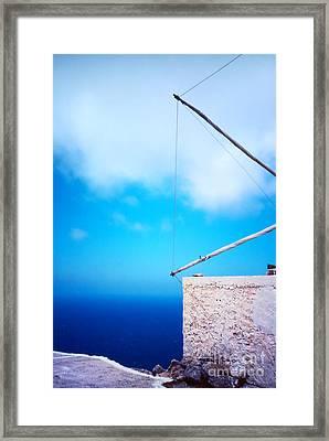 Greek Windmill Framed Print by Silvia Ganora