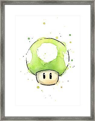 Green 1up Mushroom Framed Print by Olga Shvartsur