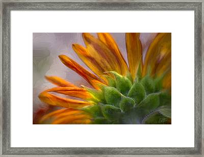 Green And Gold - Painting By Fleblanc Framed Print by F Leblanc