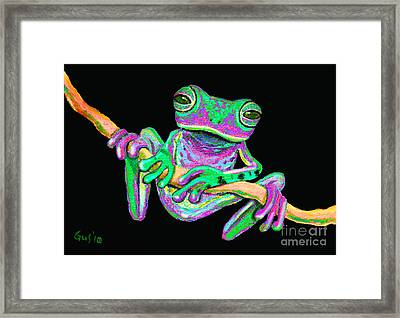 Green And Pink Frog Framed Print by Nick Gustafson