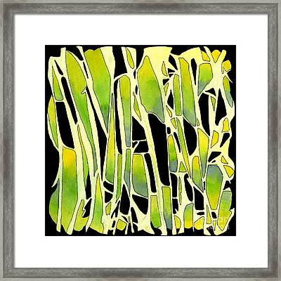 Green And Yellow Abstract Geometric Design Framed Print by Sharon Freeman