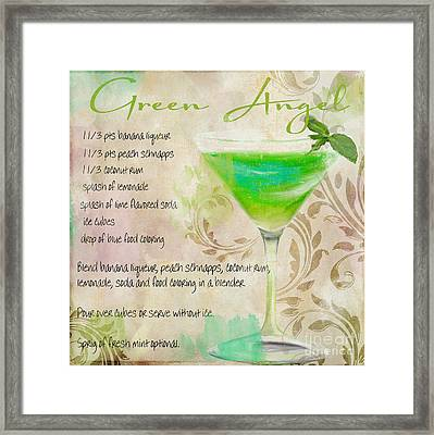 Green Angel Mixed Cocktail Recipe Sign Framed Print by Mindy Sommers