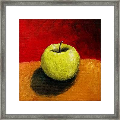 Green Apple With Red And Gold Framed Print by Michelle Calkins