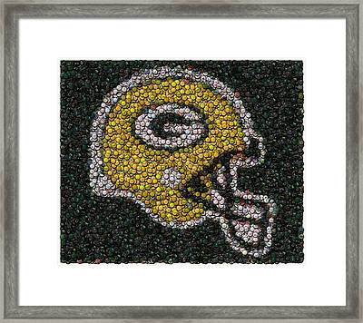 Green Bay Packers Bottle Cap Mosaic Framed Print by Paul Van Scott