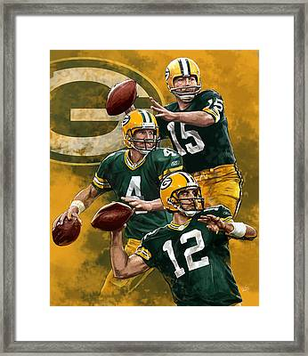 Green Bay Packers Quarterbacks Framed Print by Nate Baranowski