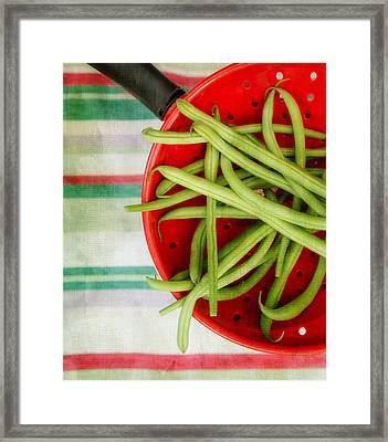 Green Beans Red Collander Framed Print by Rebecca Cozart