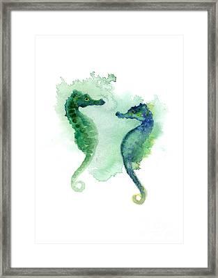 Green Blue Seahorses Watercolor Art Print Framed Print by Joanna Szmerdt