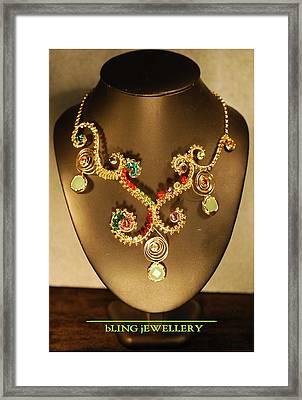 Green Chalcedony And Swarovski Crystal Wire Wrapped Necklace Framed Print by Janine Antulov