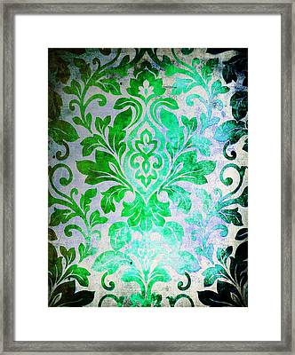 Green Damask Pattern Framed Print by Aloke Design