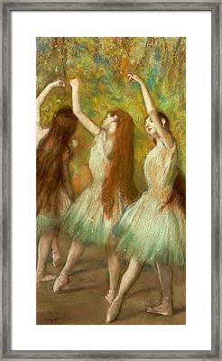 Green Dancers Framed Print by Edgar Degas