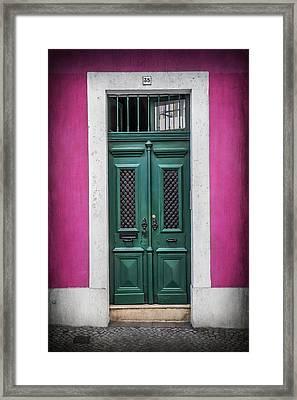 Green Door In Lisbon Framed Print by Carol Japp