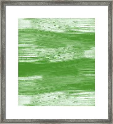 Green Drift- Abstract Art By Linda Woods Framed Print by Linda Woods