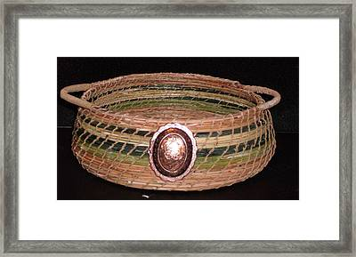 Green Dyed And Natural Pine Needle Basket Framed Print by Russell  Barton