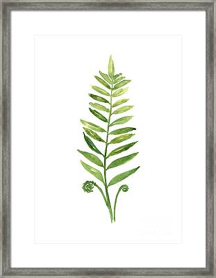 Green Fern Watercolor Art Print Painting Framed Print by Joanna Szmerdt