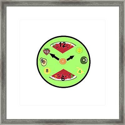 Green Food Clock Framed Print by Kathleen Sartoris