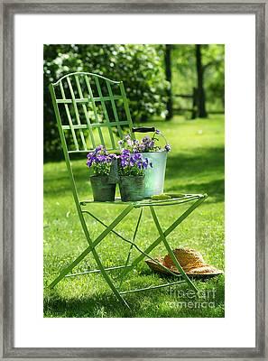Green Garden Chair Framed Print by Sandra Cunningham