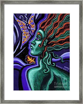 Green Goddess With Butterfly Framed Print by Genevieve Esson