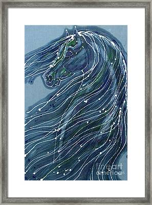 Green Horse With Flying Mane Framed Print by Carol  Law Conklin