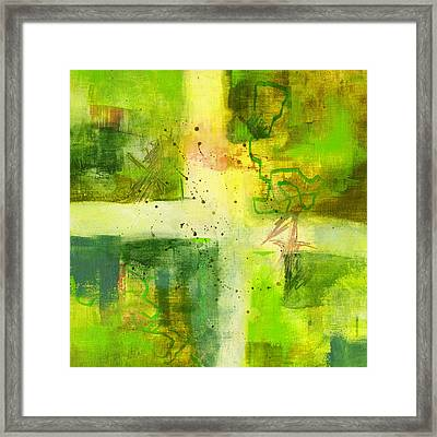 Green Light Abstract Framed Print by Nancy Merkle