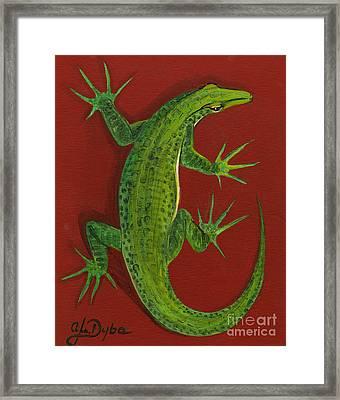 Green Lizard Framed Print by Anna Folkartanna Maciejewska-Dyba