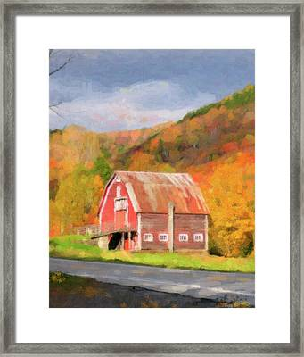Green Mountains Barn Framed Print by Betty LaRue