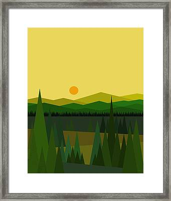 Green Mountains Framed Print by Val Arie