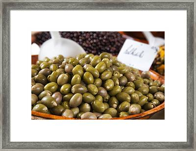 Green Olives At A French Market Framed Print by Georgia Fowler