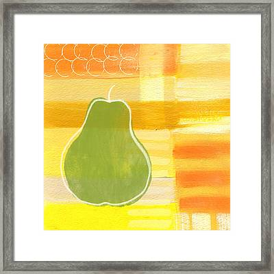 Green Pear- Art By Linda Woods Framed Print by Linda Woods