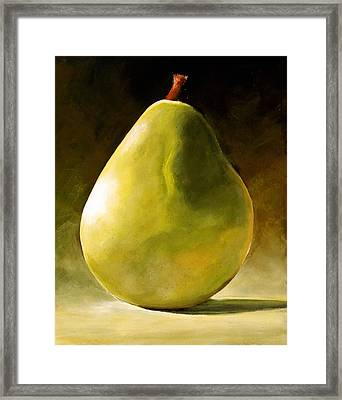 Green Pear Framed Print by Toni Grote