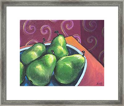 Green Pears In A Bowl Framed Print by Sarah Crumpler