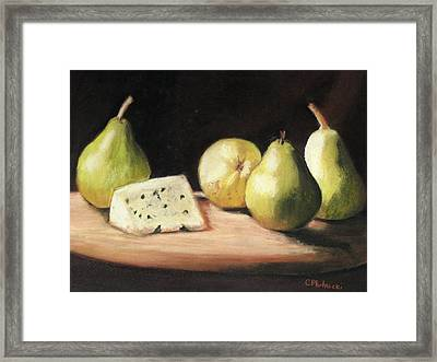 Green Pears With Cheese Framed Print by Cindy Plutnicki