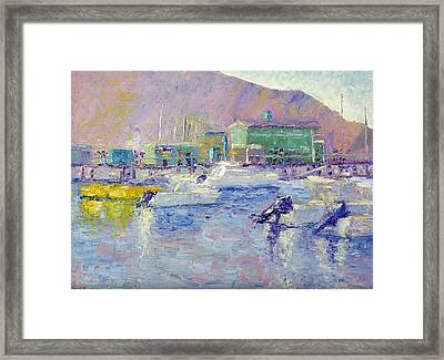 Green Pier Framed Print by Terry  Chacon
