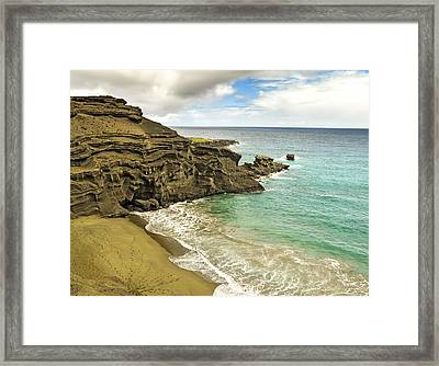 Green Sand Beach On Hawaii Framed Print by Brendan Reals