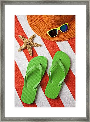 Green Sandals On Beach Towel Framed Print by Garry Gay