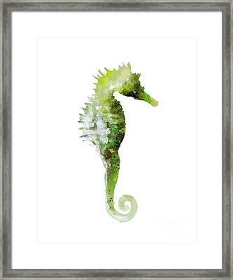 Green Seahorse Watercolor Art Print Painting Framed Print by Joanna Szmerdt