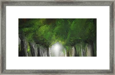 Green Serenity - Green Abstract Art Framed Print by Lourry Legarde